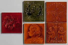 five pottery tiles including j c edwards and craven dunnill