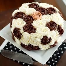 A chocolate and vanilla layer birthday cake