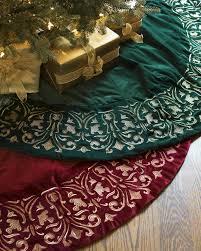 72 Inch Gold Christmas Tree Skirt by Luxe Embroidered Velvet Tree Skirt Balsam Hill