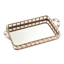 europäische spiegel vanity tray organizer badezimmer dekorative tablett hochzeit 35x21x6cm golden kosmetikablage