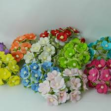 Sweetheart Blossoms Mixed Colour Paper Flowers 15mm 100pk