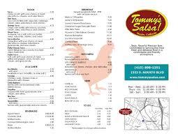 Tommys Patio Cafe Lunch Menu by Menu Tommy U0027s Salsa Novato Mexican Restaurant
