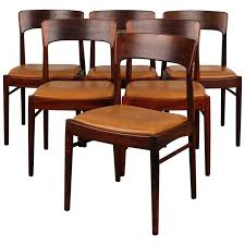 Modern Black Dining Room Set Of 6 Rosewood Danish Chairs
