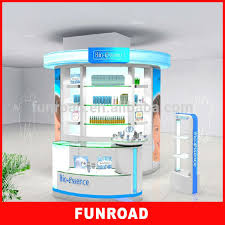 Kiosk Creative Design Accessory Display Lacquered Finish Steel Perfume Cosmetic Product With Backlit