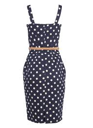 dixie polka dot pencil dress vintage inspired navy u0026 white