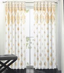 Cynthia Rowley Jacobean Floral Curtains by Cynthia Rowley Set Of 2 Curtain Panels Yellow Gray Medallion