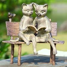cat garden statue spi home reading cat on bench garden statue reviews wayfair