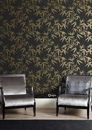 wohnzimmer tapete bambusblätter schwarz und gold 347740