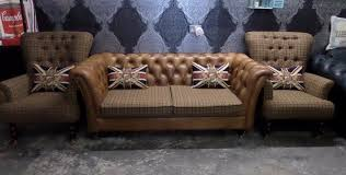 chesterfield 3 seater sofa 2 wing back chairs low tartan