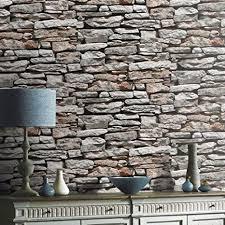 newroom steintapete in grau steinmauer bruchstein design moderne optik für wohnzimmer inklusive newroom tapezier profi broschüre