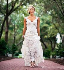 Discount Chic Rustic Full Lace Wedding Dresses Cheap V Neck Open Back Sweep Train Boho Garden Bridal Gown Custom Made Country Style New 2017 Dress