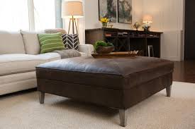Sophisticated Square Leather Ottoman Coffee Table