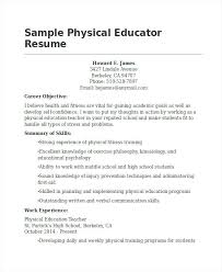 Pe Teacher Resume Physical Education Examples Letter Sample Cover