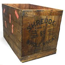 Large Wood Shredded Whole Wheat Shipping Crate