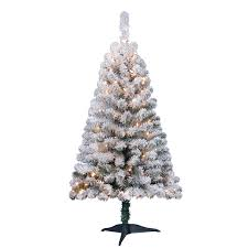 White Artificial Christmas Trees Walmart by Holiday Time Pre Lit 4 U0027 Greenfield Flocked Pine Green Artificial