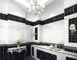 black and white bathroom ideas with black accents on wall