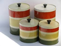 60s vintage striped metal kitchen canisters retro canister set