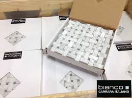 carrara bianco basketweave with bardiglio gray dot the builder