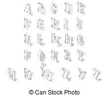 Isometric letter number set black Set of 3d letters and