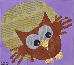 Handprint Owl Newspaper Art