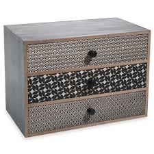 boite a tiroirs en bois boîte 3 tiroirs en bois noir h 17 cm alya vintages recyclés