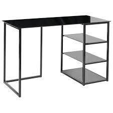 bureau verre trempé glass bureau contemporain en métal et verre trempé noir mat l 120