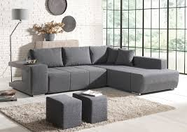 canapé d angle convertible gris deco in canape d angle convertible tissu gris 2 poufs mila