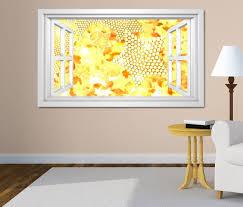 3d wandtattoo fenster 3d effekt gold gelb abstrakt kunst textur muster weiß wand aufkleber wanddurchbruch sticker selbstklebend wandbild