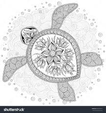 Coloring Pages Hand Drawn Sea Turtle Mascot For Adult In Doodle Native American Adults Knockout