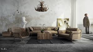 Living Room Simple Rustic Homes Concrete Wall Athenian Bust Gray Sofa Home