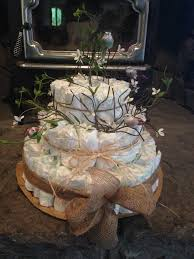 Rustic Diaper Cake For A Woodland Themed Baby Shower