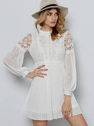 casual white lace dress for young ladies