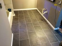 our new charcoal gray 12x24 bathroom tile floors l o v e