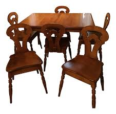 Solid Maple Colonial American Style Dining Set | Chairish