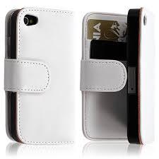 coque étui portefeuille pour apple iphone 4 4s couleur blanc
