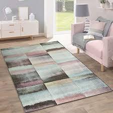 paco home designer teppich modern wohnzimmer farbverlauf karo muster pastell grün gelb lila grösse 60x100 cm