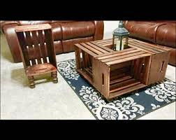 Wooden Crate Coffee Table On Wheels With Side