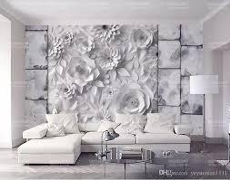 großhandel benutzerdefinierte 3d wandbild tapete stein ziegel wand origami blumen tv hintergrund wand wohnzimmer schlafzimmer heimwerker tapete