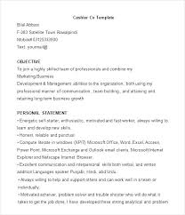 Cage Cashier Resume Objective Example Of Sample Templates Template Unforgettable Part Time Cashiers Examples