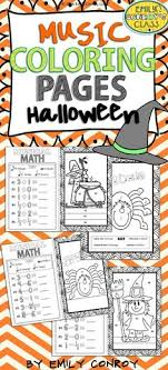 Halloween Music Coloring Pages Contains 16 Color By Note And Math Sheets The