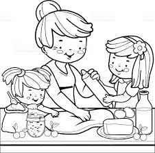 Grandmother And Children Cooking In The Kitchen Coloring Book Page Royalty Free Stock Vector