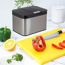 onvaya biomülleimer für die küche komposteimer mit deckel abfallbehälter aus edelstahl für biomüll bio abfalleimer geruchsfrei luftdicht