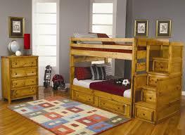 bedroom brown traditional varnished solid wood kids bunk bed