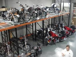 Teardrop Style Pallet Rack Used To Store Harley Davidson Motorcycles