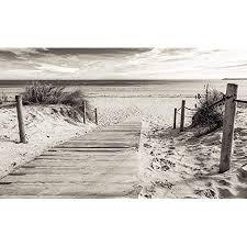 forwall fototapete vlies tapete wandtapete strand meer weg schwarz weiß wasser sand landschaft natur moderne wand dekoration wandbild 2024vexxl