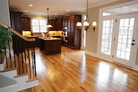 Modern Engineered Hardwood Flooring Pros And Cons Installed In Contemporary Kitchen Ideas With Solid Wooden Cabinets