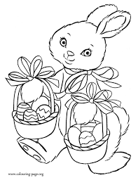 Pretty Rabbit Bringing Easter Eggs Coloring Pages For Kids Printable