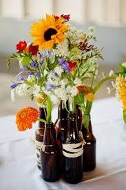 DIY Beer Bottle Vase Centerpieces