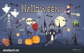 Vampire Pumpkin Designs by Happy Halloween Sticker Set Flyer Vampire Stock Vector 695921650