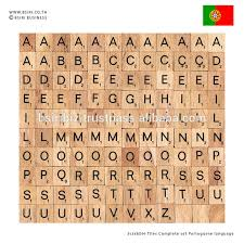 wooden letters scrabble tiles complete set portuguese language